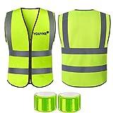 Unisex Chaleco Reflectante de Seguridad, Chaleco de Alta Visibilidad, con 360˚ Rayas Reflectantes cremallera, 2 Pulseras Reflectantes para Tráfico Construcción Trabajadores de Saneamiento