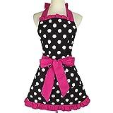 Delantal de cocina para mujer, estilo vintage, diseño de corazones, 100 % algodón, ideal como regalo para la cocina y fiesta, 100% algodón algodón, rojo rosado, 72x62 CM (28.3x24.4 Inches)