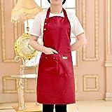 El Color Puro Que Cocina el Delantal para la Mujer de los Hombres Chef Camarero Cafetería Tienda Barbacoa Peluquería Delantales de Cocina Baberos Delantales,Rojo