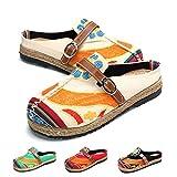 Zuecos para Mujer, Zapatos Casuales de Lona Encaje con Colores Caramelo, Arte Multicolor Pintado, Primavera Verano, Cómodas Zapatillas Antideslizantes Caminar en la Playa Beige 39 EU