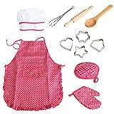 11pcs / pack chef de cocina Conjunto de niños Juegos de rol traje del cocinero con el delantal del cocinero Sombrero Utensilios de Cocina Mitt (rosa)