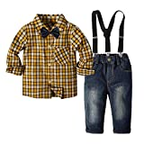 Yilaku Enfant Conjuntos de Ropa para niños con Pajarita y Tirantes Conjunto de pantalón de Vestir de otoño para niños pequeños Conjunto de Traje de Fiesta para niños (Marrón, 5-6 años)