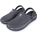 Brfash Hombres Zuecos Zapatillas de Playa Zapatillas de Jardín Respirable Malla Ahueca hacia Sandalias Clogs Verano Zapatos de Interior Exterior del Deslizador,Gris,EU43