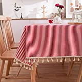 DJUX Home Decor Tablecloth Japanese Style Red Striped Simple Coffee Table ClothTablecloth Tassel Table Cloth