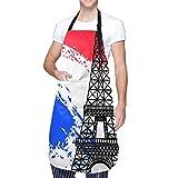 Ajustable Colgante de Cuello Personalizado Delantal Impermeable,Decoración de la bandera de Francia Torre Eiffel Día festivo,Babero de Cocina Vestido para Hombres Mujeres con 2 Bolsillos Centrales