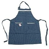 Pink Papaya Delantal, Delantal de Cocinero de 100% Lino de Algodon, Delantal de Cocina Laura, Color: Azul/Blanco Punteado con Aplicaciones…